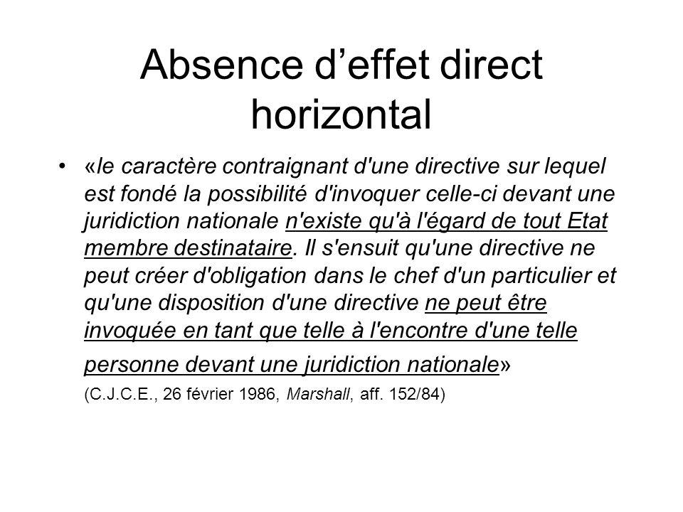 Absence deffet direct horizontal «le caractère contraignant d une directive sur lequel est fondé la possibilité d invoquer celle-ci devant une juridiction nationale n existe qu à l égard de tout Etat membre destinataire.