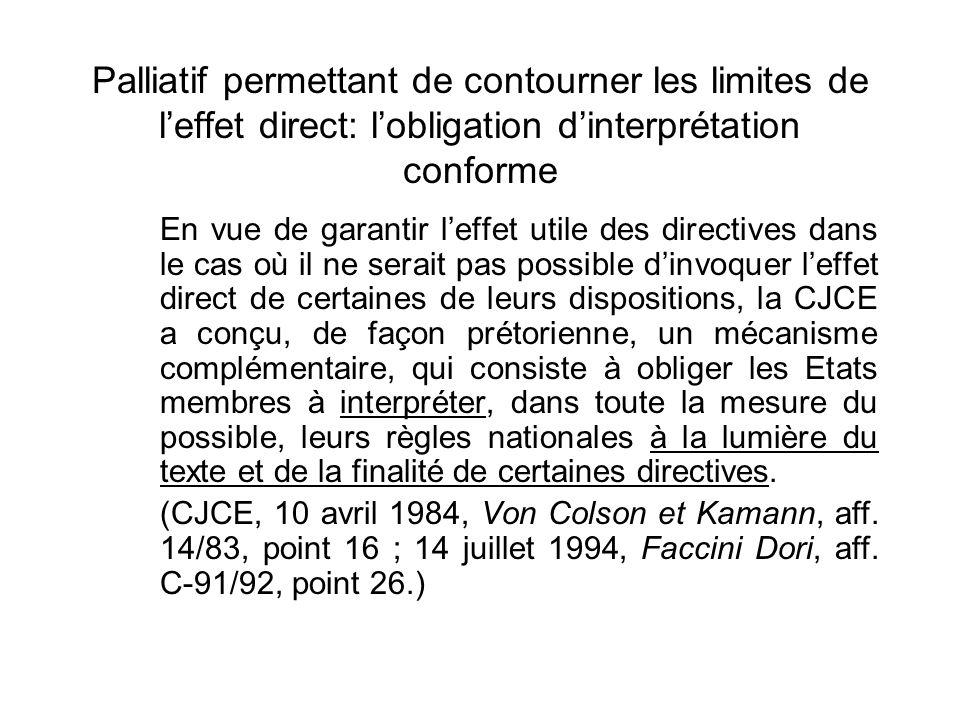 Palliatif permettant de contourner les limites de leffet direct: lobligation dinterprétation conforme En vue de garantir leffet utile des directives d
