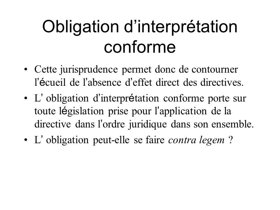 Obligation dinterprétation conforme Cette jurisprudence permet donc de contourner l é cueil de l absence d effet direct des directives. L obligation d