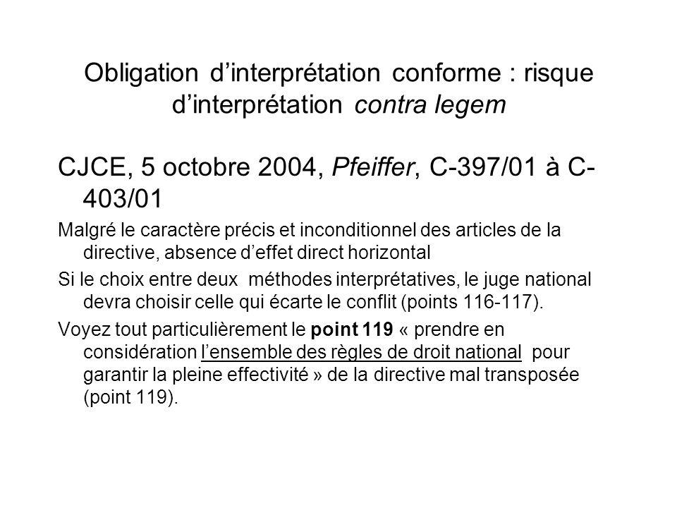 Obligation dinterprétation conforme : risque dinterprétation contra legem CJCE, 5 octobre 2004, Pfeiffer, C-397/01 à C- 403/01 Malgré le caractère pré