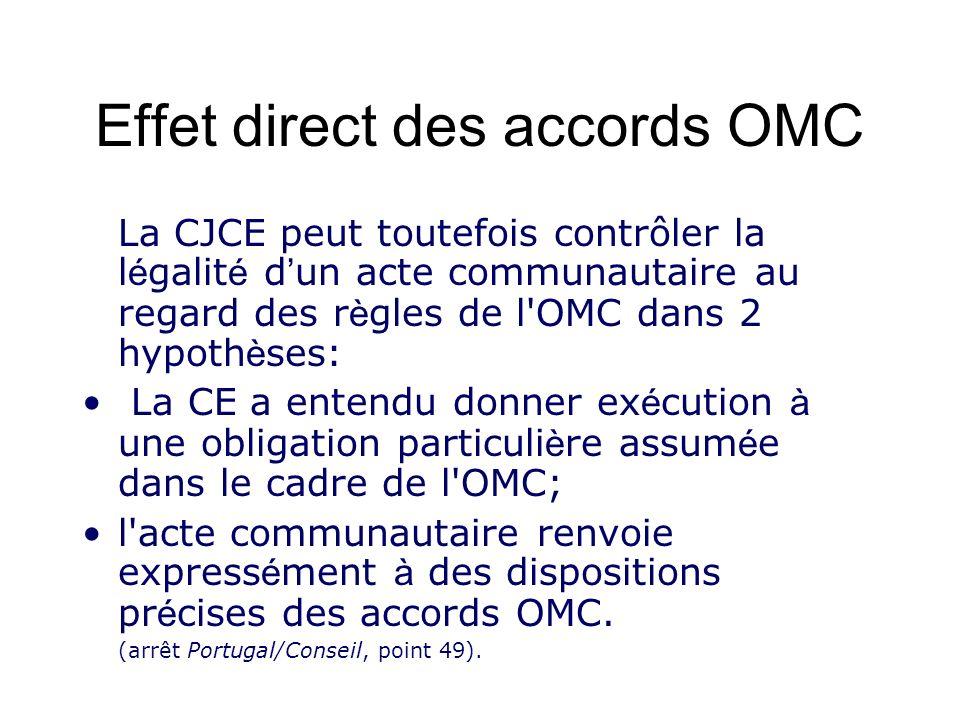 Effet direct des accords OMC La CJCE peut toutefois contrôler la l é galit é d un acte communautaire au regard des r è gles de l'OMC dans 2 hypoth è s