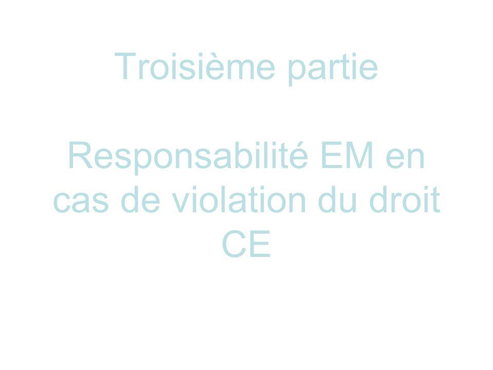Troisième partie Responsabilité EM en cas de violation du droit CE