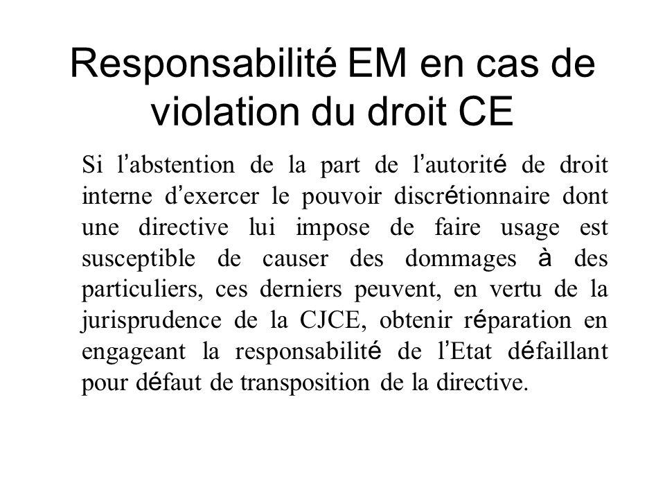 Responsabilité EM en cas de violation du droit CE Si l abstention de la part de l autorit é de droit interne d exercer le pouvoir discr é tionnaire do