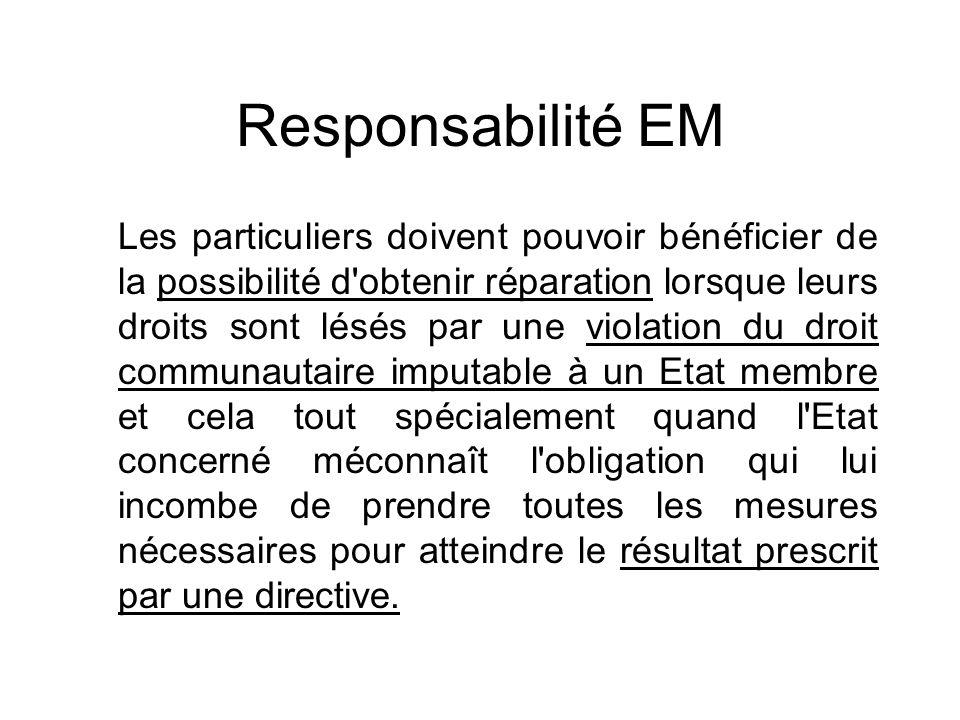 Responsabilité EM Les particuliers doivent pouvoir bénéficier de la possibilité d'obtenir réparation lorsque leurs droits sont lésés par une violation