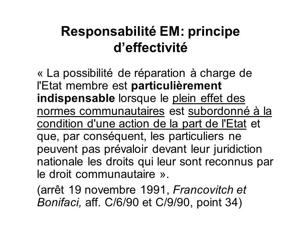 Responsabilité EM: principe deffectivité « La possibilité de réparation à charge de l'Etat membre est particulièrement indispensable lorsque le plein