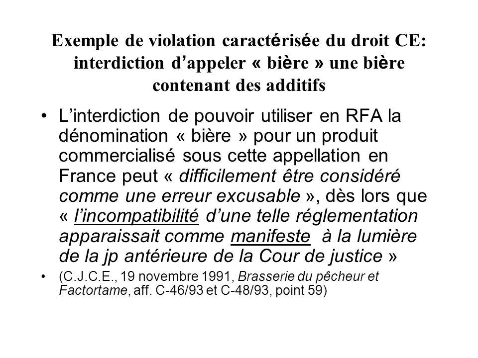 Exemple de violation caract é ris é e du droit CE: interdiction d appeler « bi è re » une bi è re contenant des additifs Linterdiction de pouvoir util
