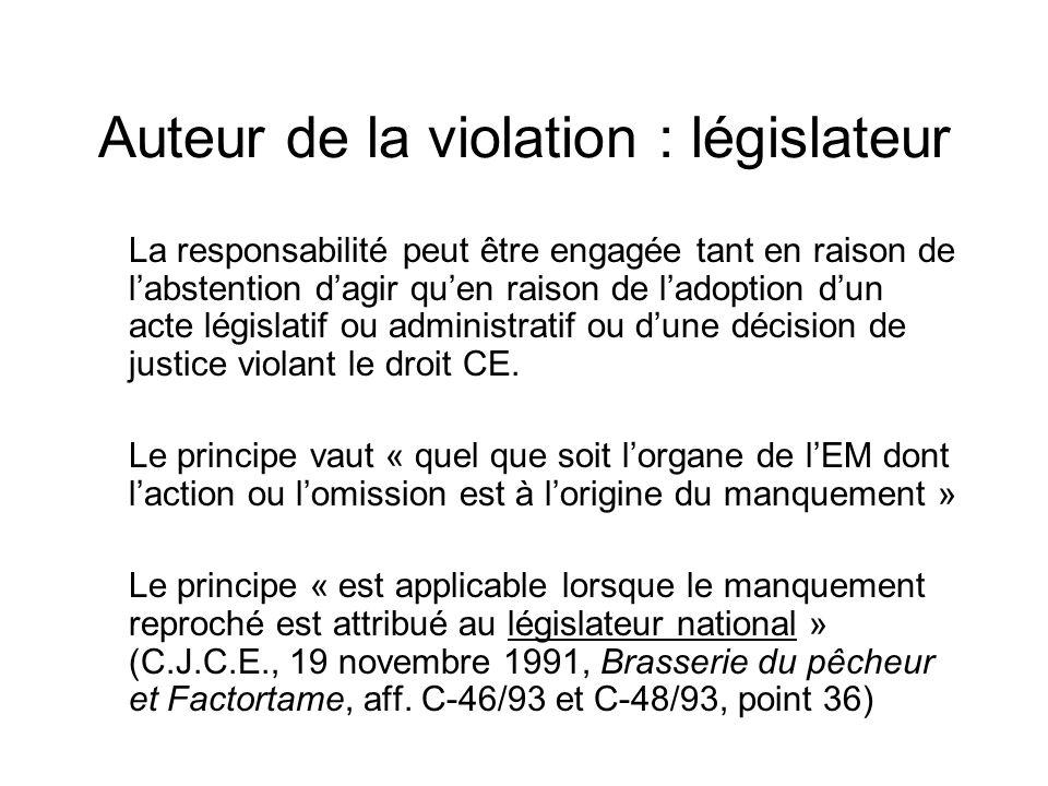 Auteur de la violation : législateur La responsabilité peut être engagée tant en raison de labstention dagir quen raison de ladoption dun acte législatif ou administratif ou dune décision de justice violant le droit CE.