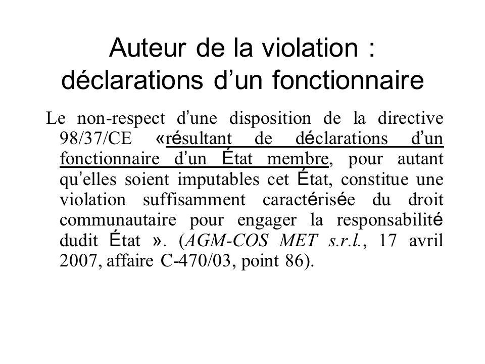 Auteur de la violation : déclarations dun fonctionnaire Le non-respect d une disposition de la directive 98/37/CE « r é sultant de d é clarations d un