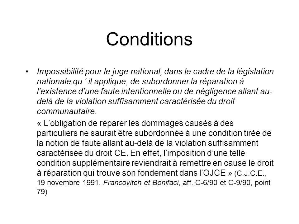Conditions Impossibilité pour le juge national, dans le cadre de la législation nationale qu il applique, de subordonner la réparation à lexistence dune faute intentionnelle ou de négligence allant au- delà de la violation suffisamment caractérisée du droit communautaire.