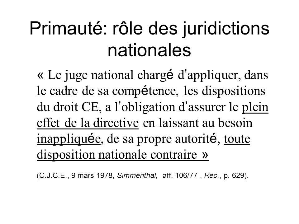 Primauté: rôle des juridictions nationales « Le juge national charg é d appliquer, dans le cadre de sa comp é tence, les dispositions du droit CE, a l
