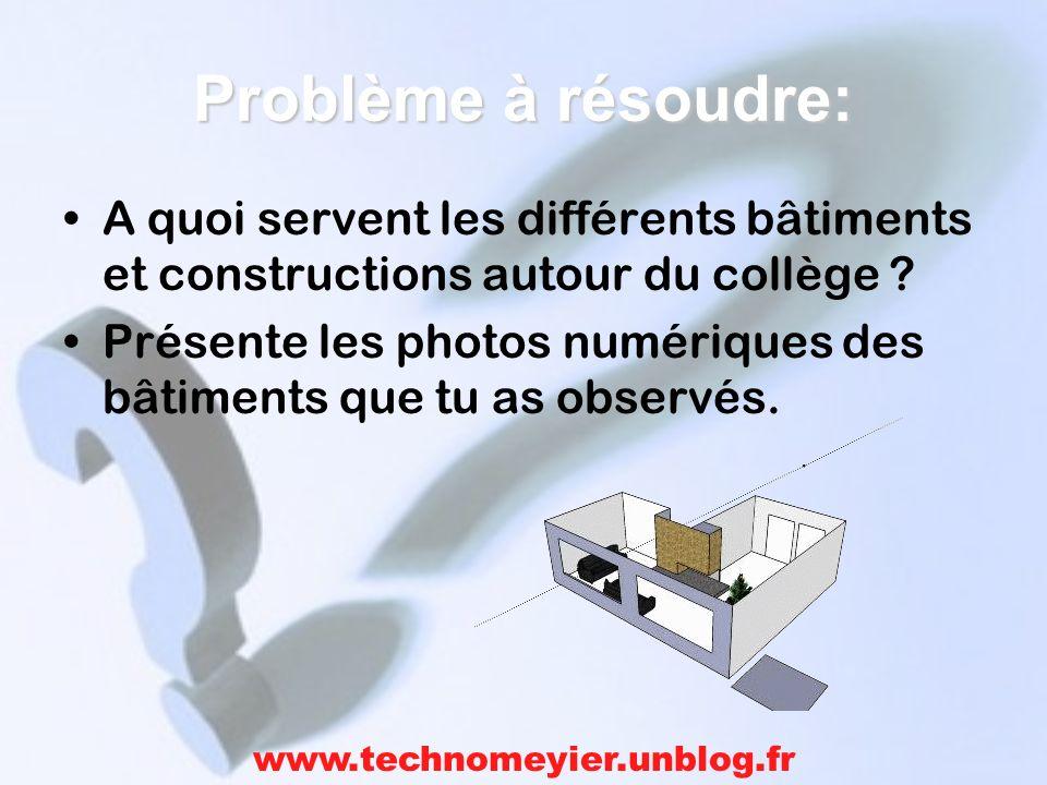 Problème à résoudre: A quoi servent les différents bâtiments et constructions autour du collège .