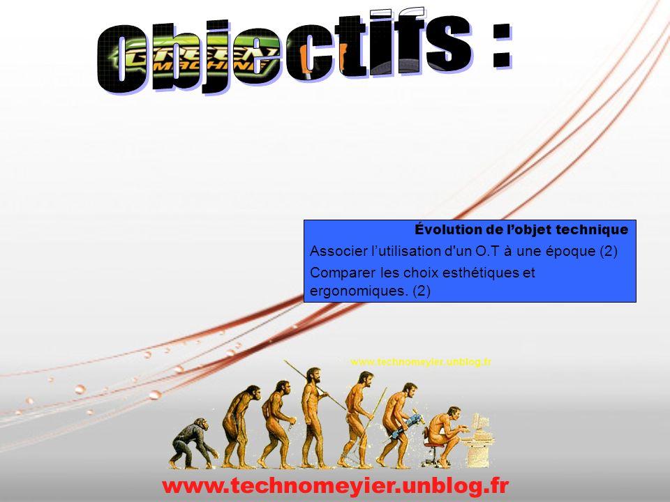 Évolution de lobjet technique Associer lutilisation d'un O.T à une époque (2) Comparer les choix esthétiques et ergonomiques. (2) www.technomeyier.unb