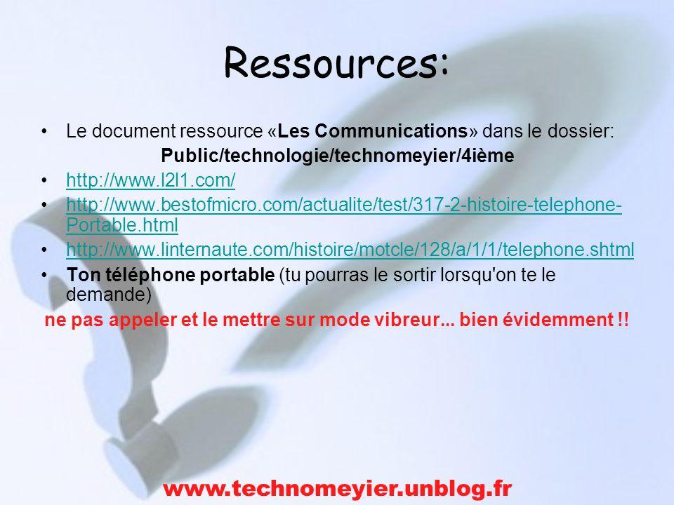 Ressources: Le document ressource «Les Communications» dans le dossier: Public/technologie/technomeyier/4ième http://www.l2l1.com/ http://www.bestofmi