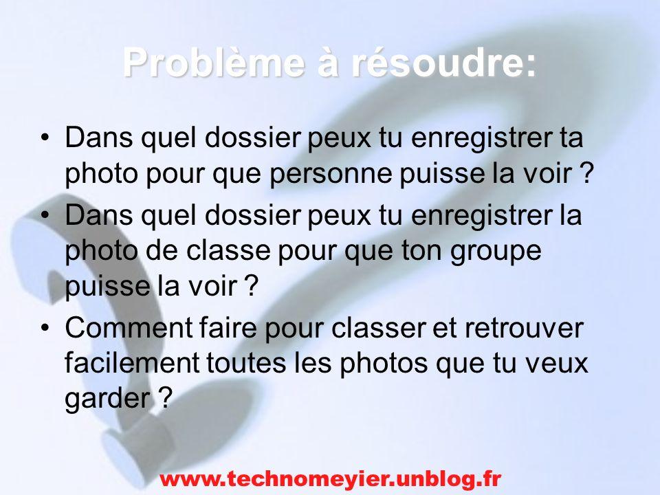 Problème à résoudre: Dans quel dossier peux tu enregistrer ta photo pour que personne puisse la voir .