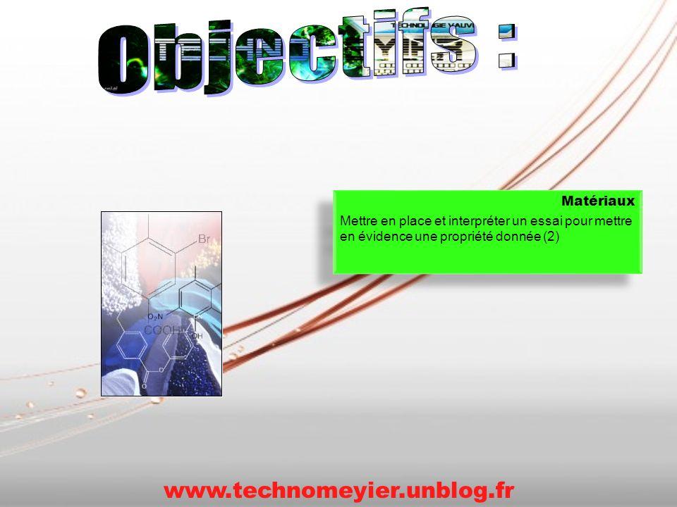 Matériaux Mettre en place et interpréter un essai pour mettre en évidence une propriété donnée (2) Matériaux Mettre en place et interpréter un essai p