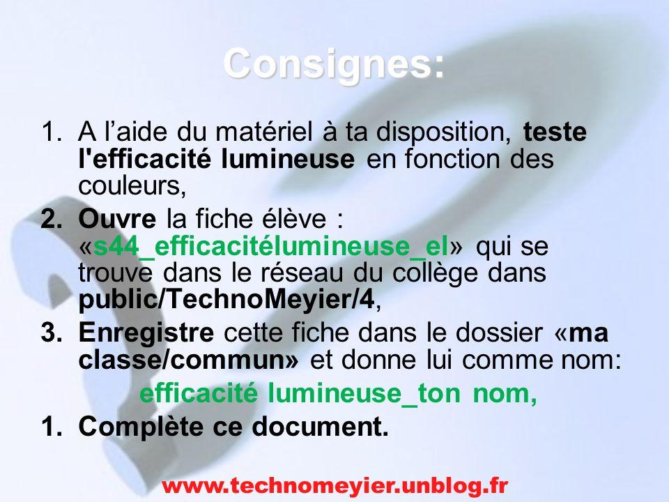 Consignes: 1.A laide du matériel à ta disposition, teste l'efficacité lumineuse en fonction des couleurs, 2.Ouvre la fiche élève : «s44_efficacitélumi