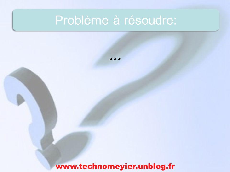 … www.technomeyier.unblog.fr Problème à résoudre: