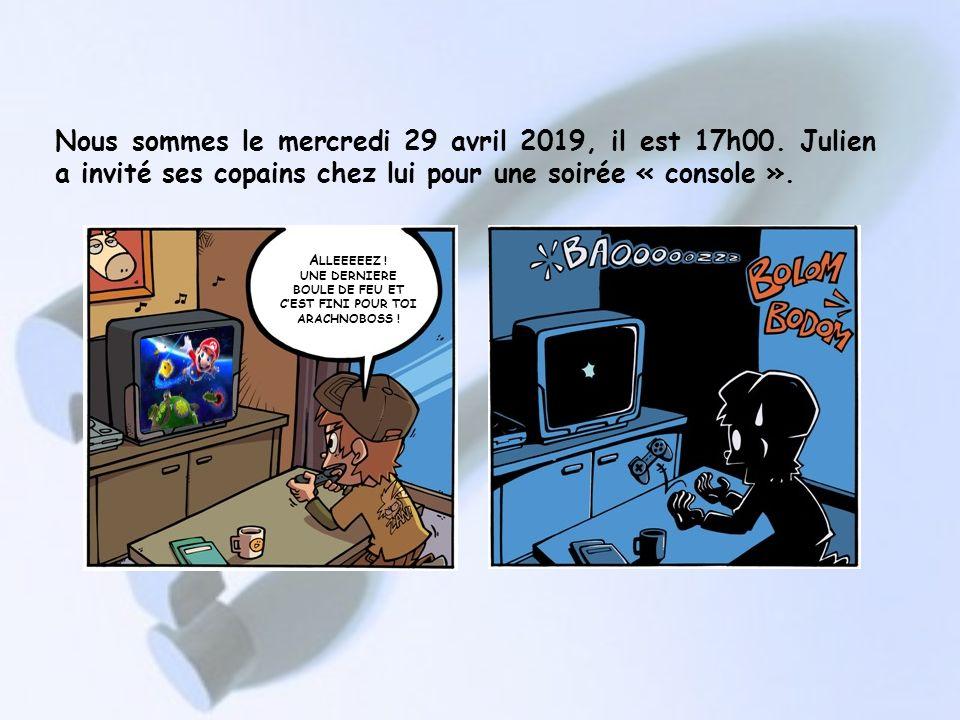 Nous sommes le mercredi 29 avril 2019, il est 17h00.