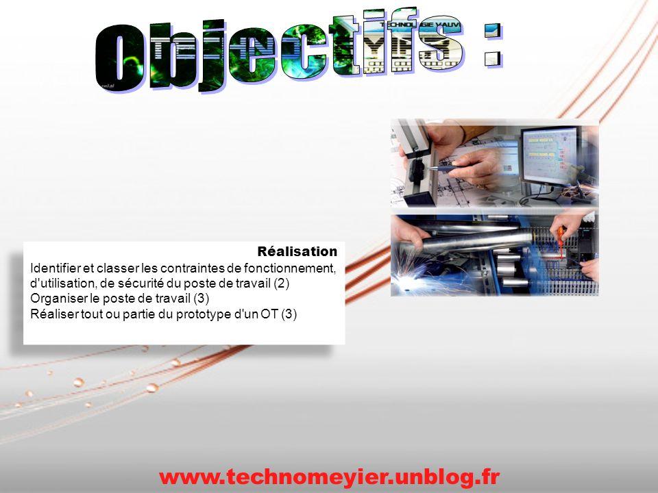 Réalisation Identifier et classer les contraintes de fonctionnement, d'utilisation, de sécurité du poste de travail (2) Organiser le poste de travail