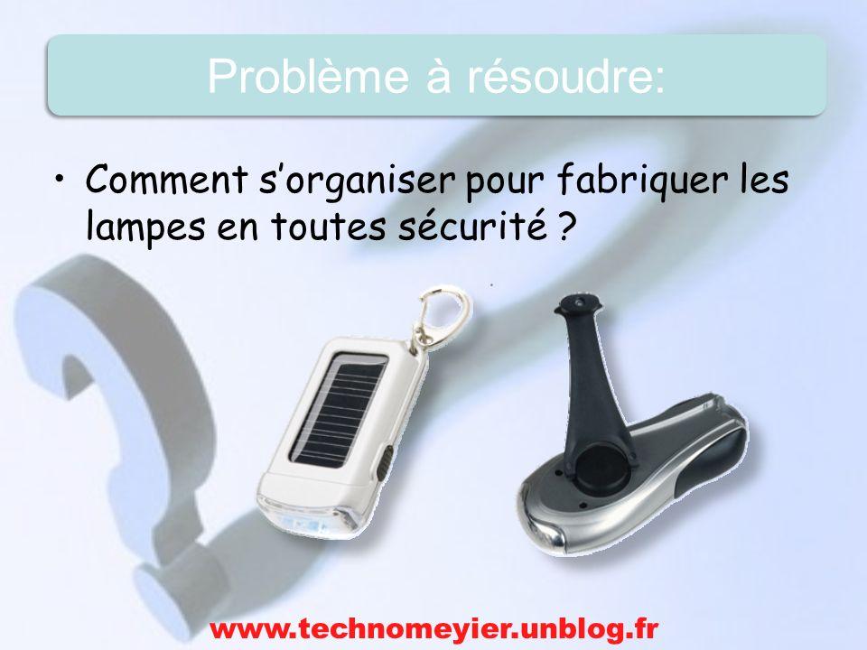 Comment sorganiser pour fabriquer les lampes en toutes sécurité ? www.technomeyier.unblog.fr Problème à résoudre: