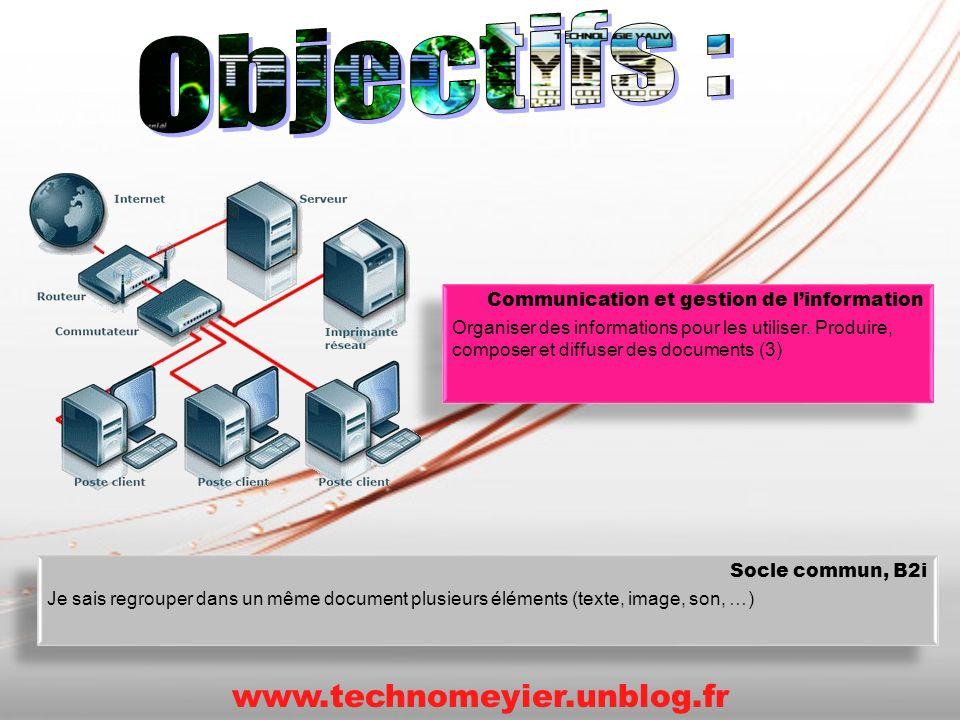 Communication et gestion de linformation Organiser des informations pour les utiliser. Produire, composer et diffuser des documents (3) Communication