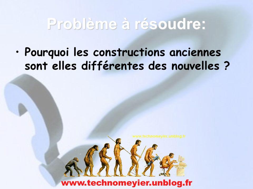 Problème à résoudre: Pourquoi les constructions anciennes sont elles différentes des nouvelles ? www.technomeyier.unblog.fr
