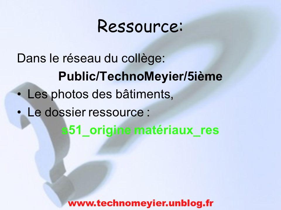 Ressource: Dans le réseau du collège: Public/TechnoMeyier/5ième Les photos des bâtiments, Le dossier ressource : s51_origine matériaux_res www.technom