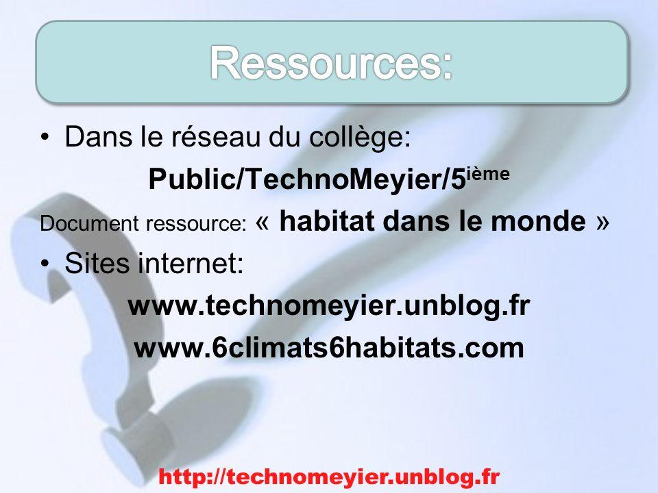 Dans le réseau du collège: Public/TechnoMeyier/5 ième Document ressource: « habitat dans le monde » Sites internet: www.technomeyier.unblog.fr www.6cl