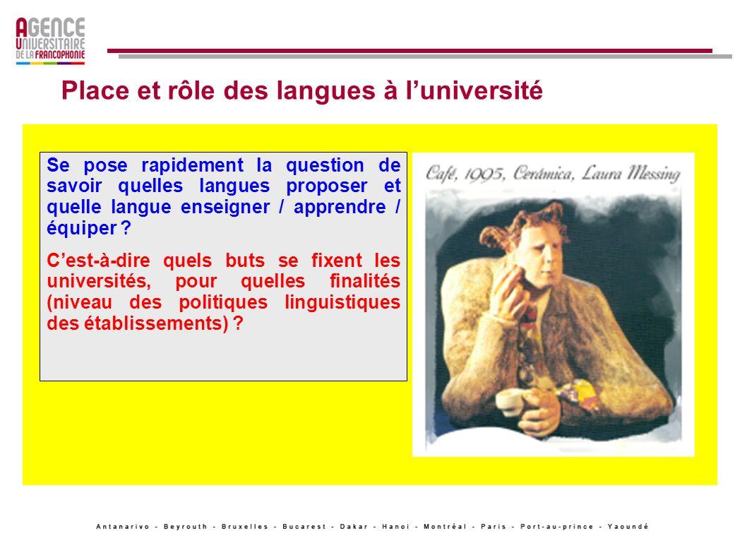 Place et rôle des langues à luniversité: vers un nouveau jeu .