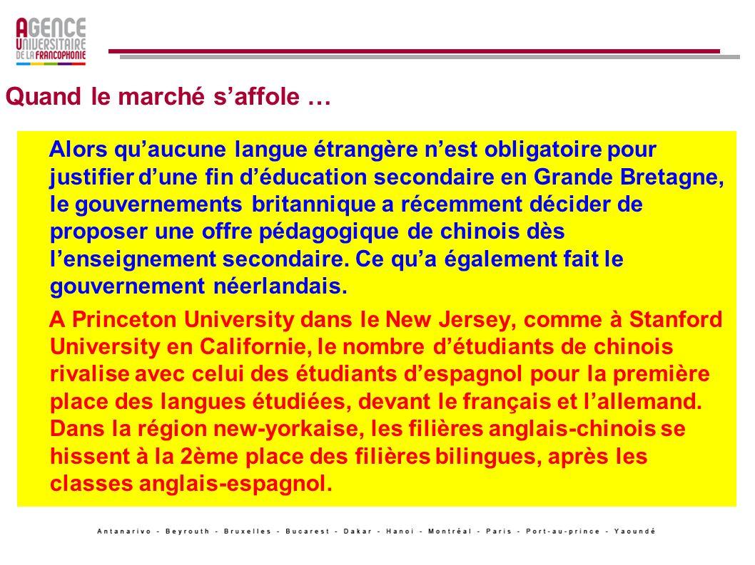 Quand le marché saffole … En Afrique du Sud en 2006, deux universités et vingt établissements scolaires proposaient des cours de mandarin à 8000 élèves.