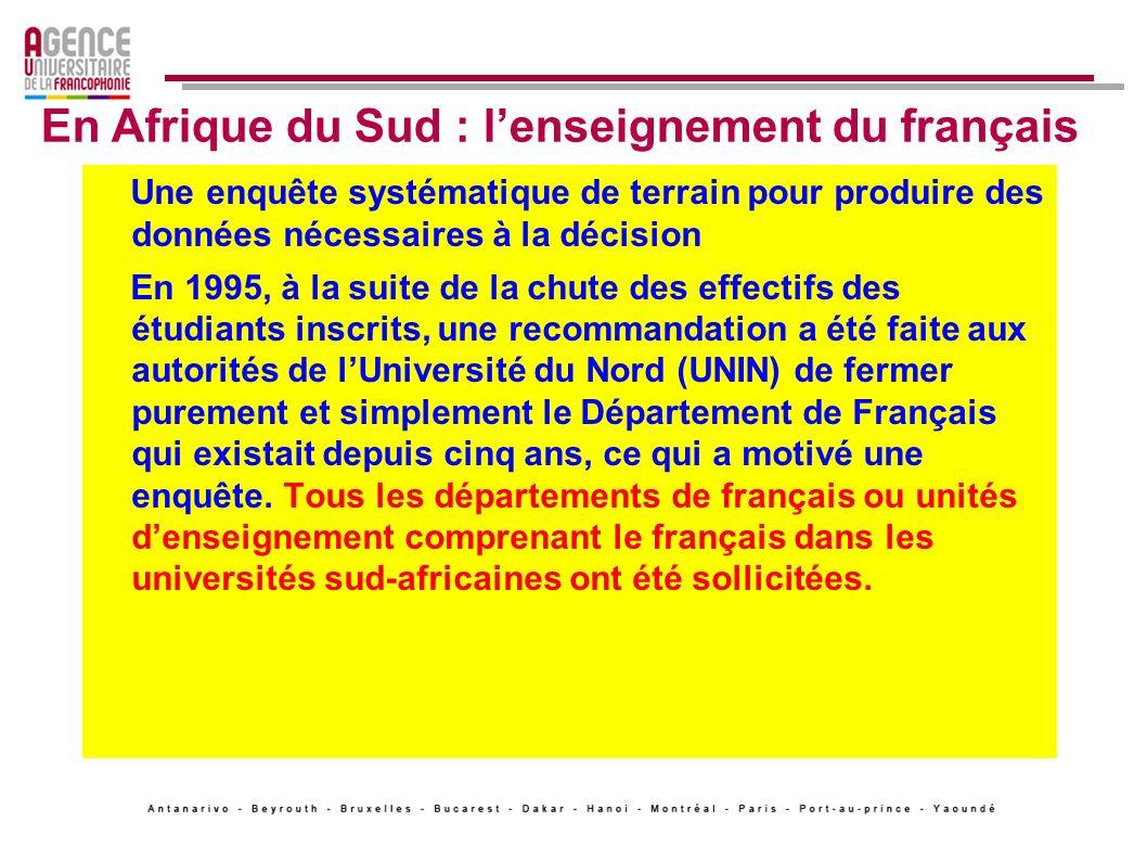 De cette enquête, on retirera que les contacts formels entre les départements de français des universités sud-africaines et dautres départements de français à létranger sont insuffisants (ce qui nest pas surprenant étant donné lisolement de lAfrique du Sud pendant des décennies).