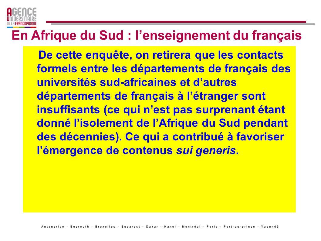 La réforme des programmes de français visera donc surtout ladaptation du contenu de lenseignement pour des domaines où il y a de plus en plus besoin de langue française : les Sciences Politique et Economique, lAdministration des Affaires, les Sciences Commerciales, la Pharmacie.