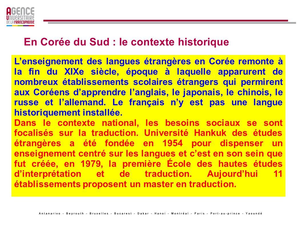 En Corée du Sud : irruption du français Dans les années 1980, la Corée est devenue le premier pays francophone dAsie après le Vietnam, par son nombre dapprenants et denseignants.