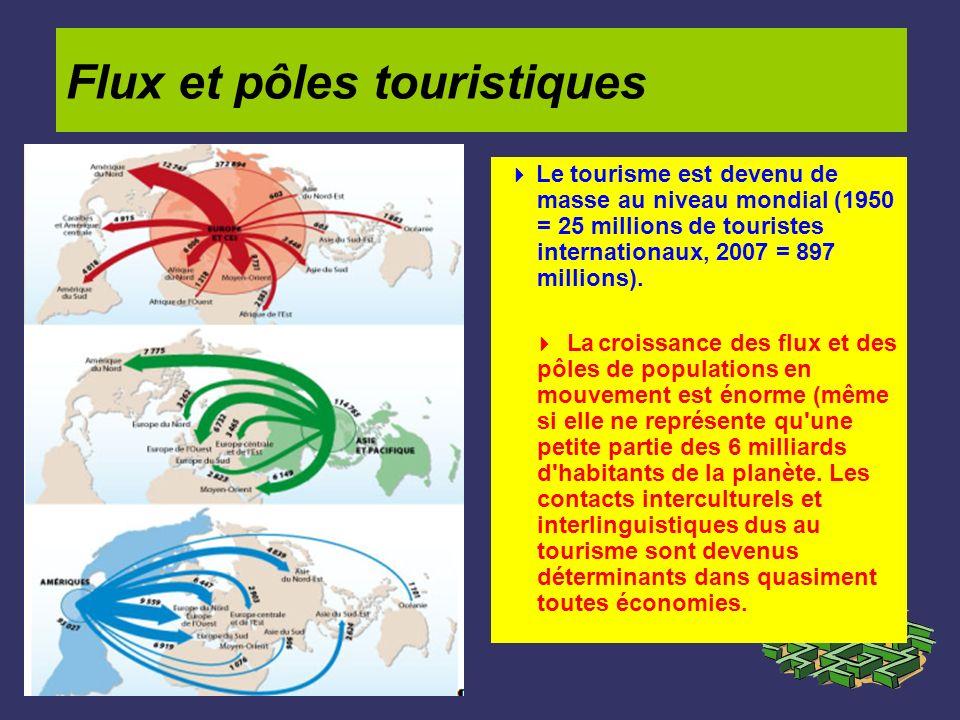 Flux et pôles touristiques Le tourisme est devenu de masse au niveau mondial (1950 = 25 millions de touristes internationaux, 2007 = 897 millions). La