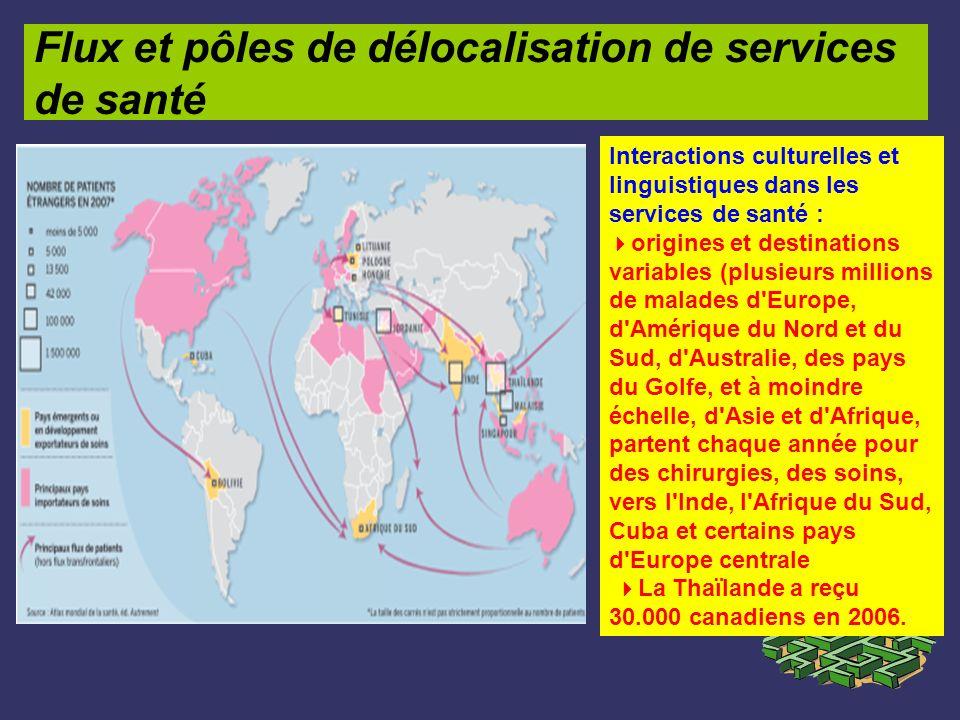Flux et pôles de délocalisation de services de santé Interactions culturelles et linguistiques dans les services de santé : origines et destinations v