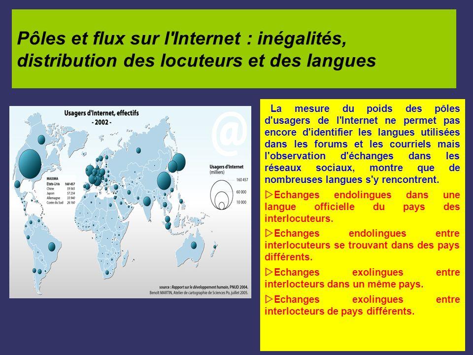 Pôles et flux sur l'Internet : inégalités, distribution des locuteurs et des langues La mesure du poids des pôles d'usagers de l'Internet ne permet pa