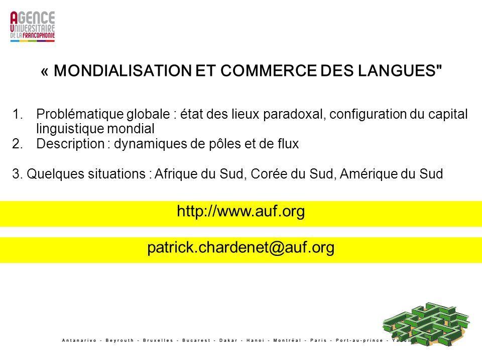 1.Problématique globale : état des lieux paradoxal, configuration du capital linguistique mondial 2.Description : dynamiques de pôles et de flux 3. Qu