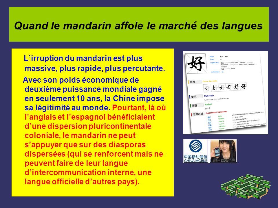Lirruption du mandarin est plus massive, plus rapide, plus percutante. Avec son poids économique de deuxième puissance mondiale gagné en seulement 10