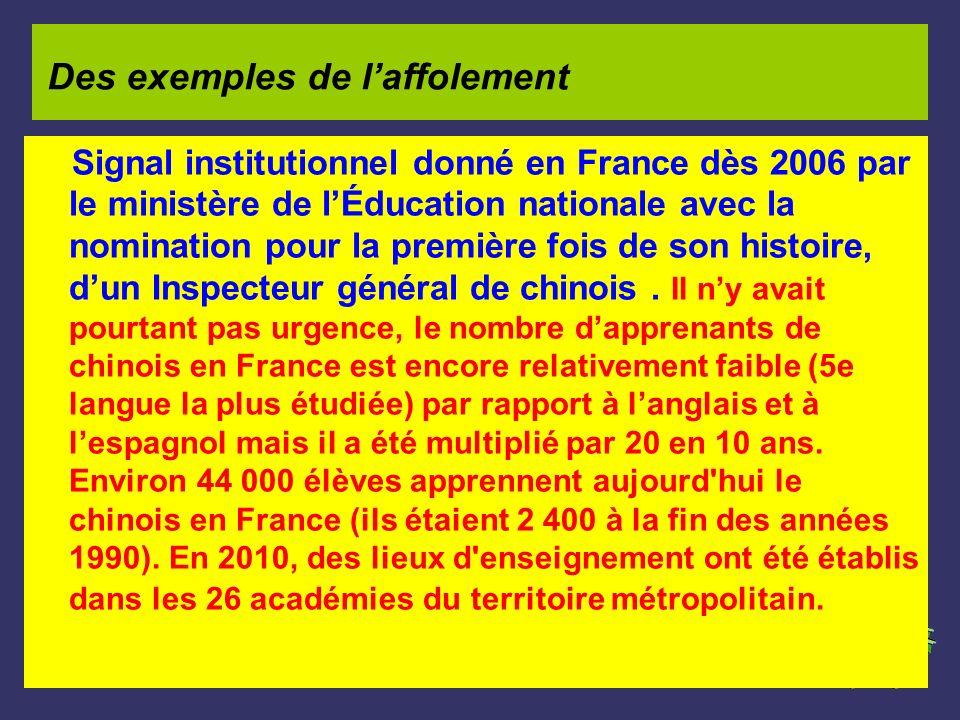 Signal institutionnel donné en France dès 2006 par le ministère de lÉducation nationale avec la nomination pour la première fois de son histoire, dun