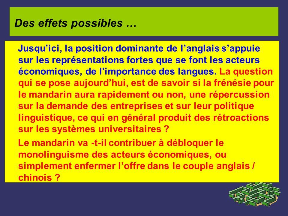 Jusquici, la position dominante de langlais sappuie sur les représentations fortes que se font les acteurs économiques, de l'importance des langues. L