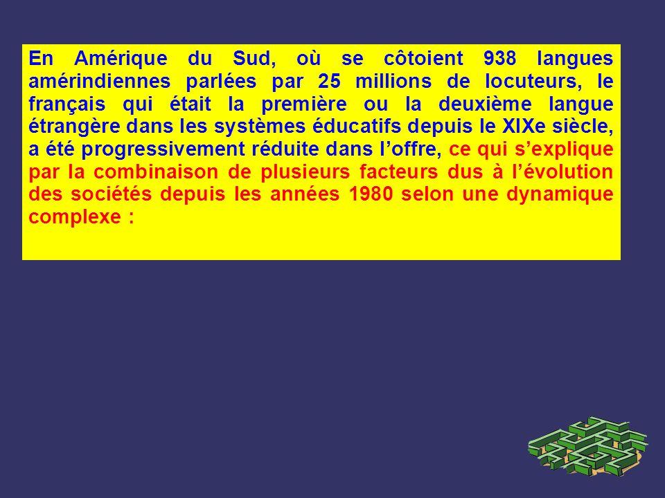 En Amérique du Sud, où se côtoient 938 langues amérindiennes parlées par 25 millions de locuteurs, le français qui était la première ou la deuxième la