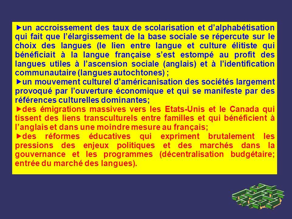 un accroissement des taux de scolarisation et dalphabétisation qui fait que lélargissement de la base sociale se répercute sur le choix des langues (l