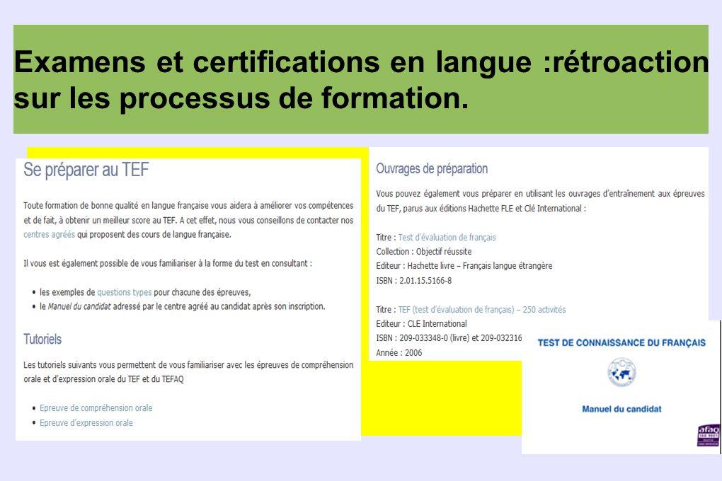 Examens et certifications en langue :rétroaction sur les processus de formation.