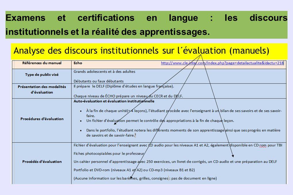 Examens et certifications en langue : les discours institutionnels et la réalité des apprentissages. Analyse des discours institutionnels sur l´évalua