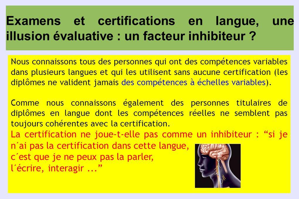 Examens et certifications en langue, une illusion évaluative : un facteur inhibiteur ? Nous connaissons tous des personnes qui ont des compétences var