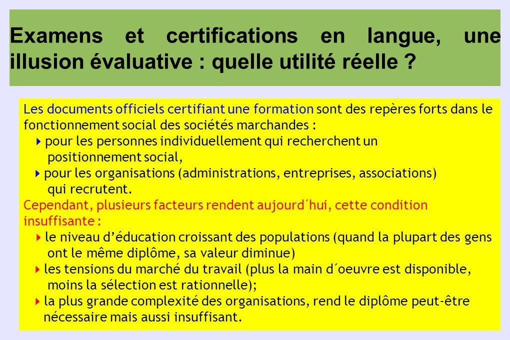 Examens et certifications en langue, une illusion évaluative : quelle utilité réelle ? Les documents officiels certifiant une formation sont des repèr