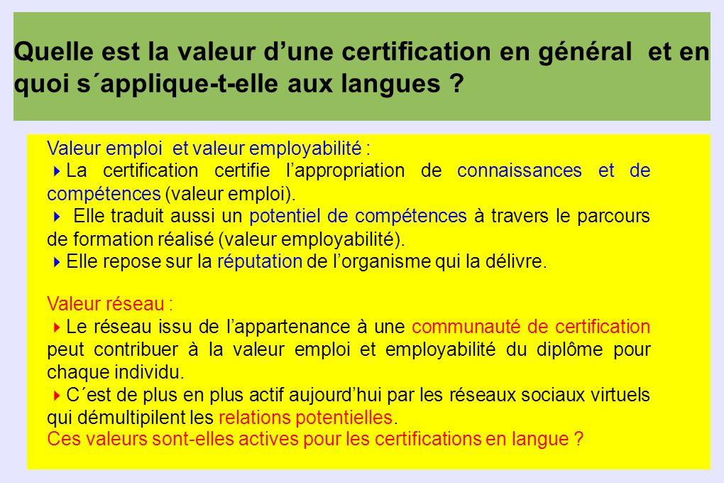 Quelle est la valeur dune certification en général et en quoi s´applique-t-elle aux langues ? Valeur emploi et valeur employabilité : La certification