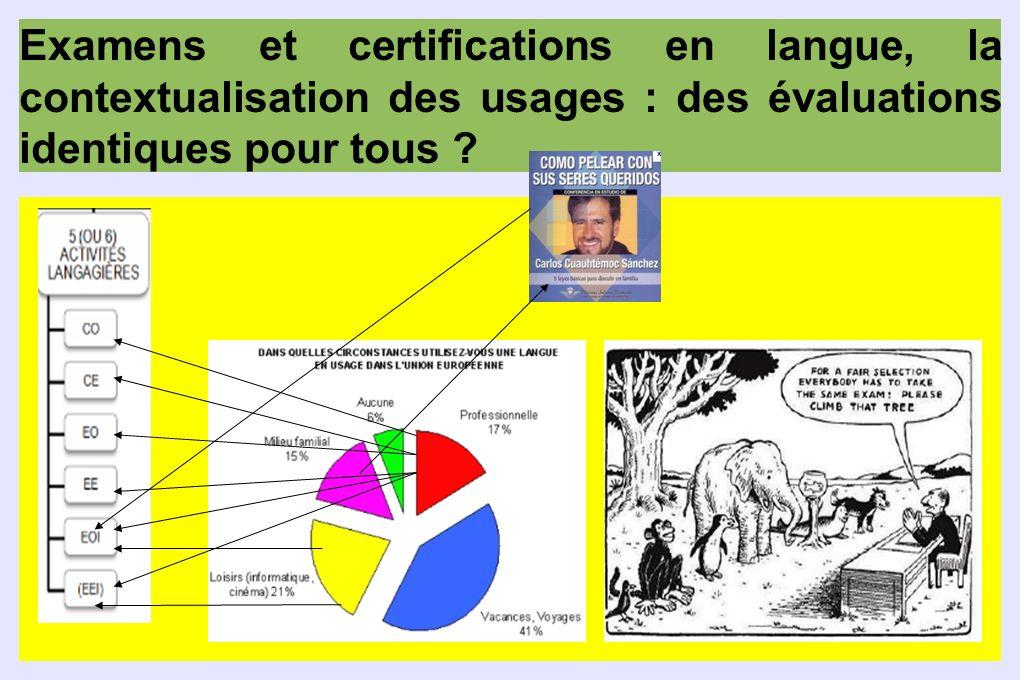Examens et certifications en langue, la contextualisation des usages : des évaluations identiques pour tous ?
