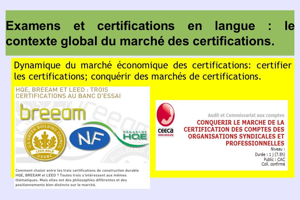 Examens et certifications en langue : le contexte global du marché des certifications. Dynamique du marché économique des certifications: certifier le