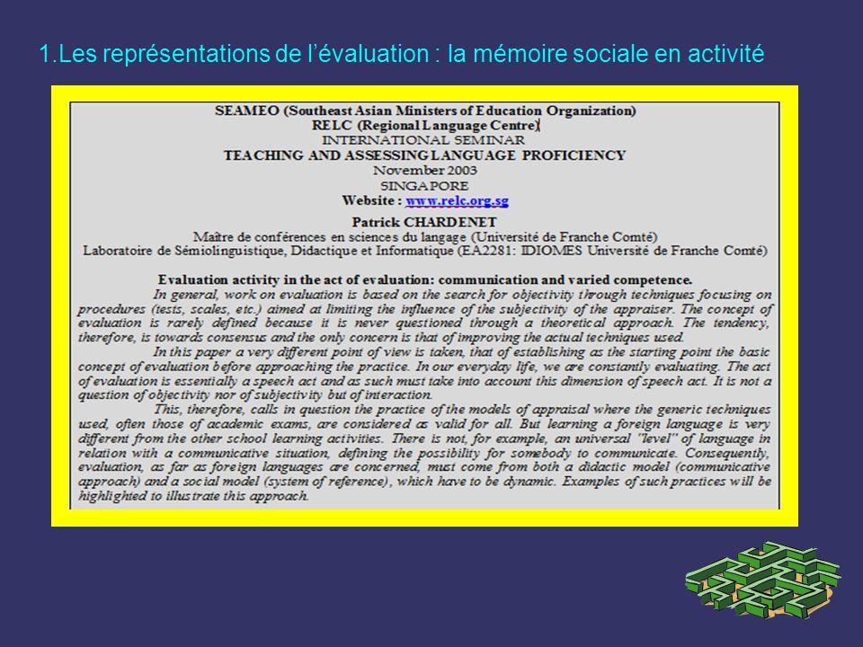 1.Les représentations de lévaluation : la mémoire sociale en activité